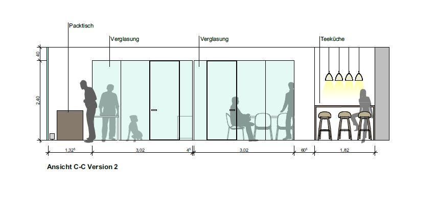 Manibus - Schnittansicht Büro Murnau